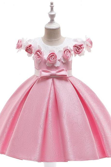 Princess Flower Girl Dress Floral Satin Formal Party Birthday Gown Children Kids Clothes pink