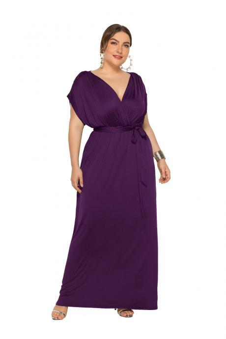 Women Maxi Dress V Neck Short Sleeve Belted Casual Plus Size Long Formal Evening Party Dress purple