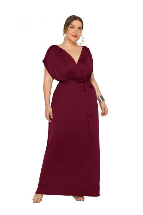 Women Maxi Dress V Neck Short Sleeve Belted Casual Plus Size Long Formal Evening Party Dress wine red