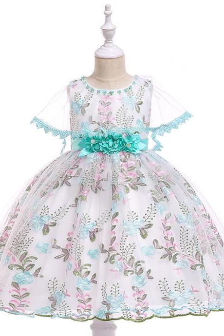 Embroidery Lace Flower Girl Dress Princess Birthday Formal Party Ball Gown Children Kids Clothes aqua