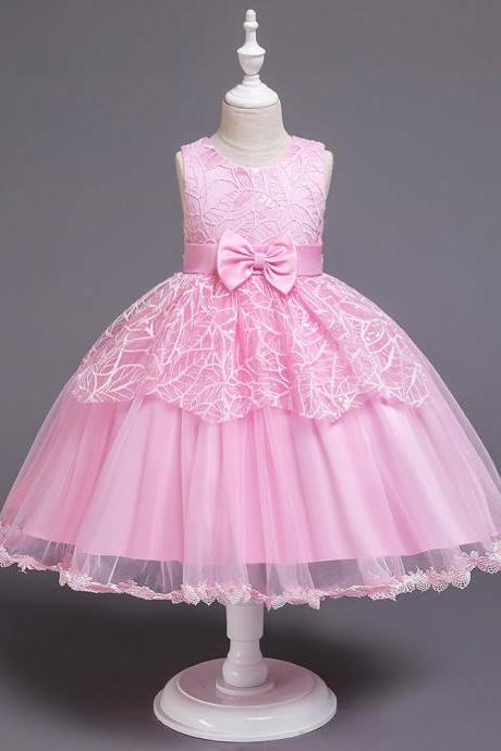 Lace Flower Girl Dress Princess Wedding Communion Birthday Party Gown Children Kids Clothes pink