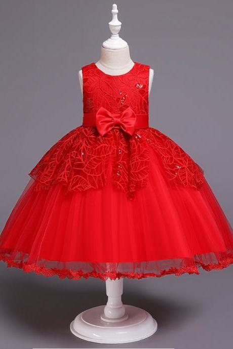 Lace Flower Girl Dress Princess Wedding Communion Birthday Party Gown Children Kids Clothes red