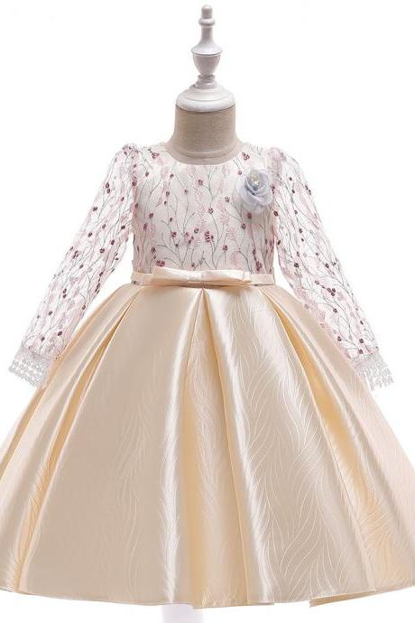 Long Sleeve Flower Girl Dress Embroidery Princess Teens Formal Party Prom Gown Children Clothes champagne