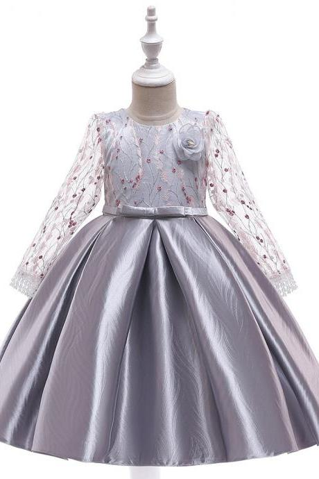 Long Sleeve Flower Girl Dress Embroidery Princess Teens Formal Party Prom Gown Children Clothes gray