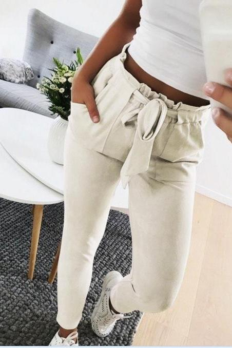 Women Harem Pants Bow Tie Belted High Waist Slim Casual Streetwear Capris Trousers light gray
