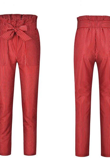 Women Harem Pants Bow Tie Belted High Waist Slim Casual Streetwear Capris Trousers red striped