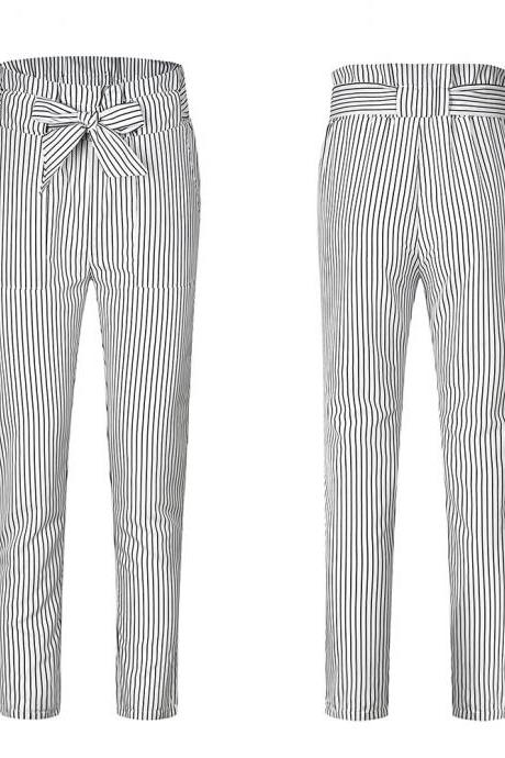 Women Harem Pants Bow Tie Belted High Waist Slim Casual Streetwear Capris Trousers white striped