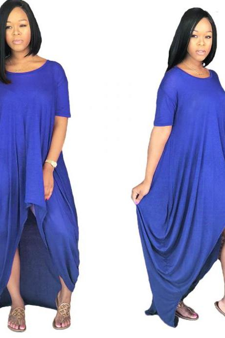 Women Asymmetrical Dress Summer Short Sleeve Streetwear Casual Loose High Low Dress blue