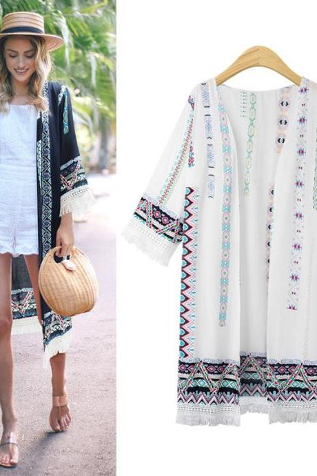 Women Cardigan Coat Floral Printed Tassels 3/4 Sleeve Plus Size Casual Loose Long Jacket ivory