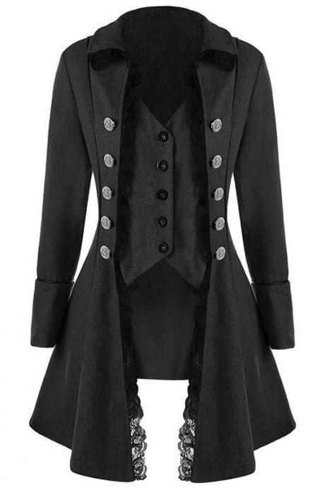Women Asymmetrical Coat Gothic Long Sleeve Middle Ages Cosplay Prince Steampumk Jacket Outerwear black