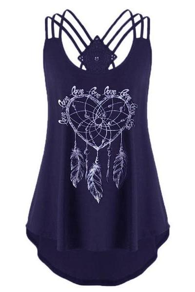 Women Floral Tank Top Summer Spaghetti Strap Lace Asymmetrical Sleeveless T Shirt navy blue