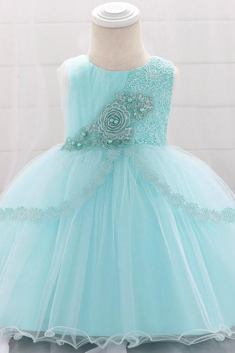 Lace Flower Girl Dress Newborn Wedding Baptism Birthday Christening Party Tutu Gown Baby Kids Clothes aqua