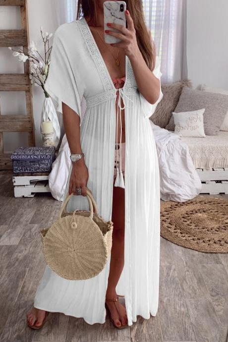 Women Maxi Dress V-Neck Half Sleeve Casual Lace Summer Beach Holiday Cardigan Long Dress white