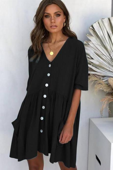 Women Casual Dress Summer Half Sleeve V Neck Pockets Buttons Loose Mini Dress black