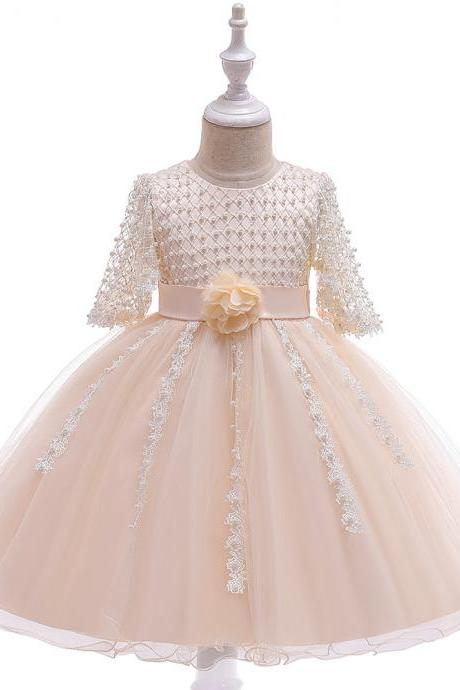 Beaded Flower Girl Dress Half Sleeve Lace Wedding Birthday Perform Party Tutu Gown Children Kids Clothes champagne