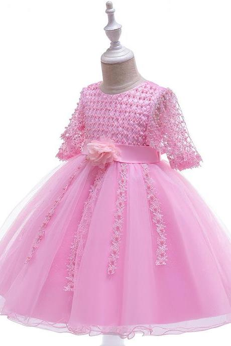 Beaded Flower Girl Dress Half Sleeve Lace Wedding Birthday Perform Party Tutu Gown Children Kids Clothes pink