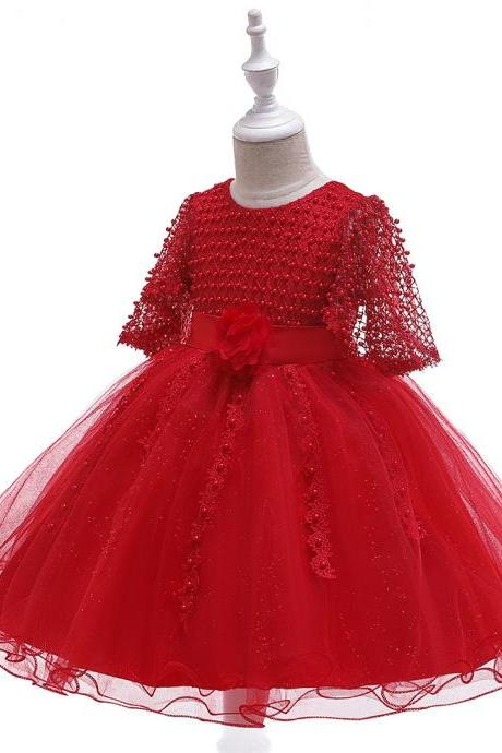 Beaded Flower Girl Dress Half Sleeve Lace Wedding Birthday Perform Party Tutu Gown Children Kids Clothes red