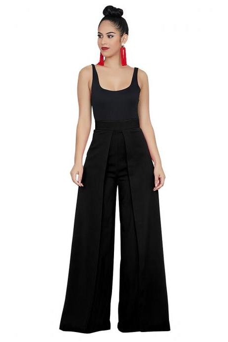 Women Wide Leg Pants Casual High Waist Loose Back Zipper Work Office Long Trousers black