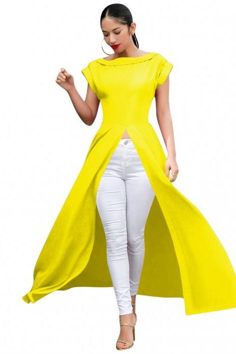 Women Maxi Dress O-Neck Short Sleeve Front High Split Casual Long Club Party Dress yellow
