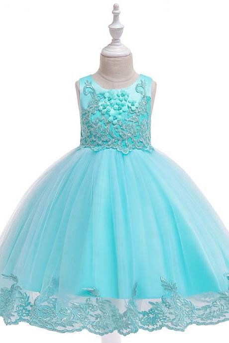 Applique Lace Flower Girl Dress Princess Wedding Birthday Prom Party Tutu Gonws Kids Children Clothes aqua