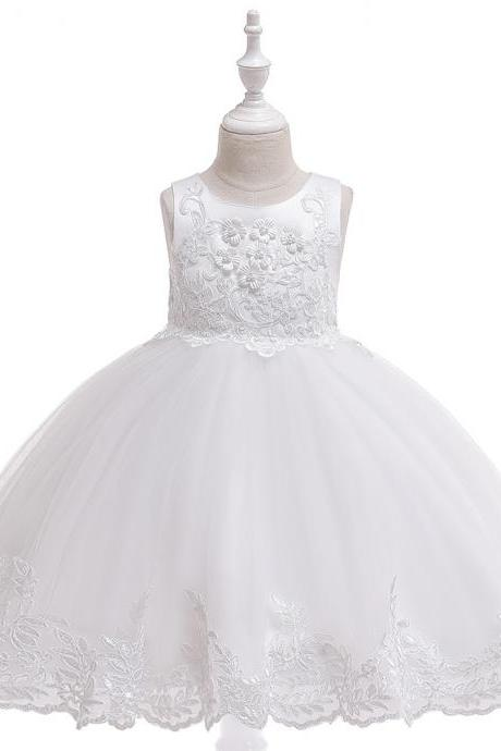 Applique Lace Flower Girl Dress Princess Wedding Birthday Prom Party Tutu Gonws Kids Children Clothes white
