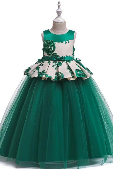 Long Flower Girl Dress Embroidery Teens Formal Birthday Party Tutu Gown Children Kids Clothes hunter green