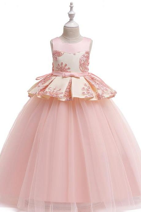 Long Flower Girl Dress Embroidery Teens Formal Birthday Party Tutu Gown Children Kids Clothes