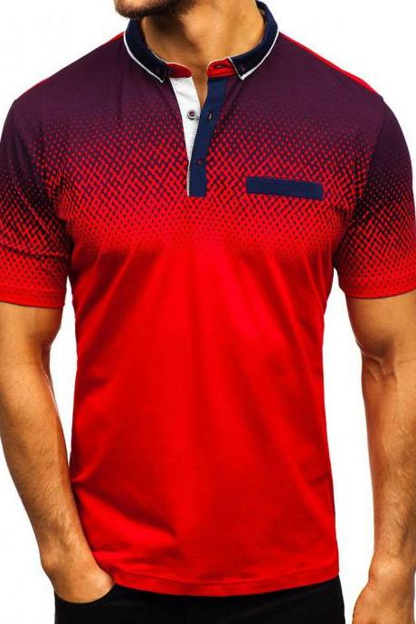 Men T-Shirt Summer Short Sleeve Turn-Down Collar 3D Printed Casual Slim Fit Polo Shirt red