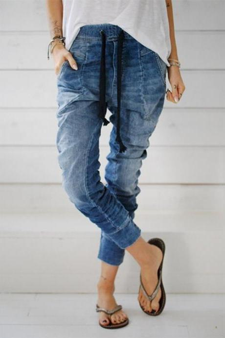 Women Jeans Drawstring Elastic Waist Casual Ankle-Length Female Long Denim Harem Pants light blue