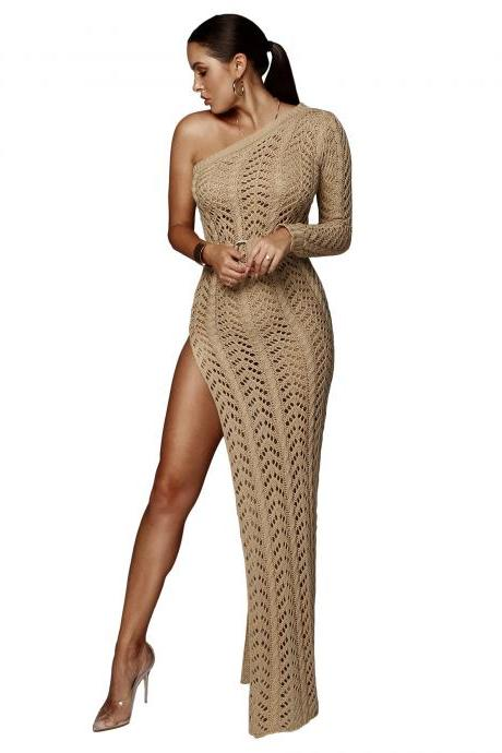 Women Maxi Dress One Shoulder High Split Hollow Out Knitted Beach Casual Bodycon Long Club Party Dress camel