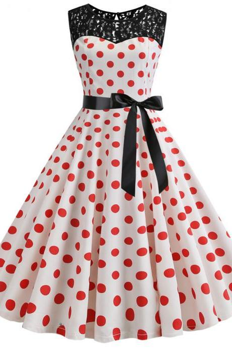 Women Polka Dot Dress Summer Sleeveless Lace Patchwork Belted A Line Formal Party Dress 2#