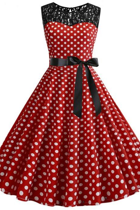 Women Polka Dot Dress Summer Sleeveless Lace Patchwork Belted A Line Formal Party Dress 3#
