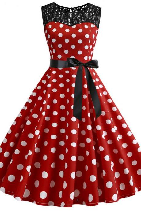 Women Polka Dot Dress Summer Sleeveless Lace Patchwork Belted A Line Formal Party Dress 4#