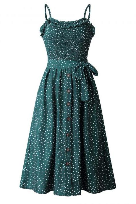 Women Polka Dot Dress Spaghetti Strap Buttons Summer Beach Boho Casual Midi A Line Dress green