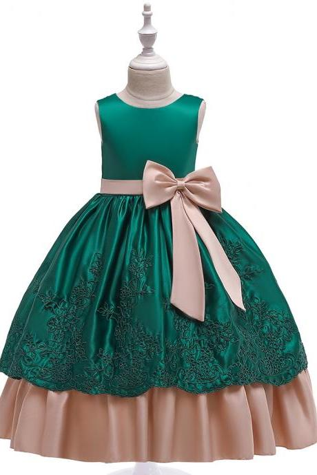 Long Satin Flower Girl Dress Embroidery Formal Birthday Perform Party Tutu Gown Kids Children Clothes hunter green