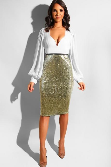 Women Sequined Midi Skirt High Waist Slim Bodycon Office Club Party Pencil Skirt gold