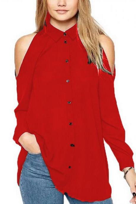 Women Chiffon Blouse Off the Shoulder Long Sleeve Casual Loose Plus Size Top Shirt red