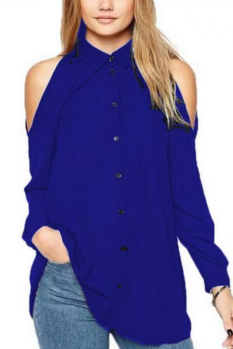 Women Chiffon Blouse Off the Shoulder Long Sleeve Casual Loose Plus Size Top Shirt royal blue