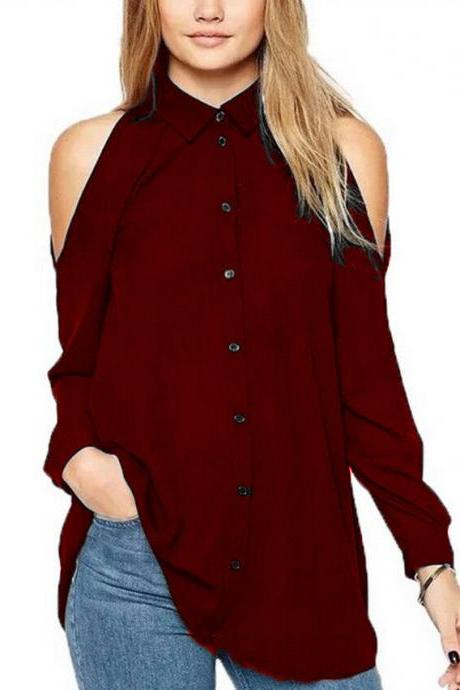 Women Chiffon Blouse Off the Shoulder Long Sleeve Casual Loose Plus Size Top Shirt wine red