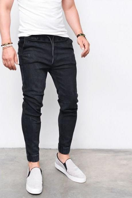 Men Skinny Jeans Drawstring Mid-Waist Ripped Casual Streetwear Slim Long Denim Pencil Pants black