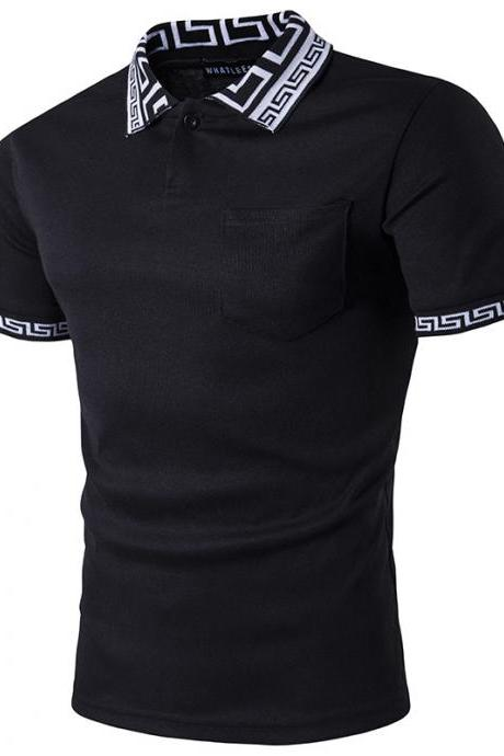 Men T Shirt Summer Short Sleeve Turn-down Collar Patchwork Casual Slim Fit T Shirt black