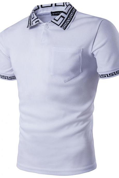 Men T Shirt Summer Short Sleeve Turn-down Collar Patchwork Casual Slim Fit T Shirt white