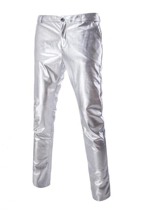 Men Long Pants Costumes Golden Performance Show Hot Stamping Casual Business Trousers silver