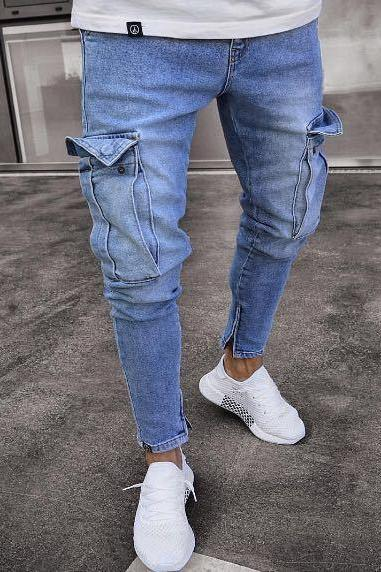 Men Jeans Mid Waist Distressed Skinny Pocket Ripped Hole Hip hop Slim Denim Pencil Pants light blue