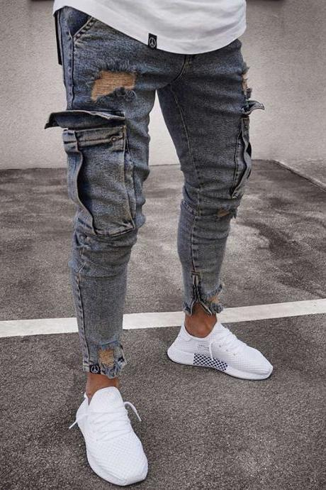 Men Jeans Mid Waist Distressed Skinny Pocket Ripped Hole Hip hop Slim Denim Pencil Pants vintage blue