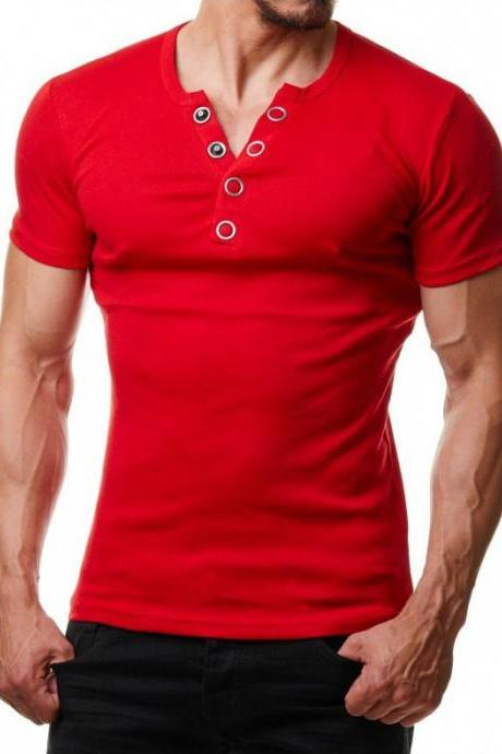 Men T Shirt Summer V Neck Short Sleeve Metal Button Casual Slim Fit Polo Shirt red