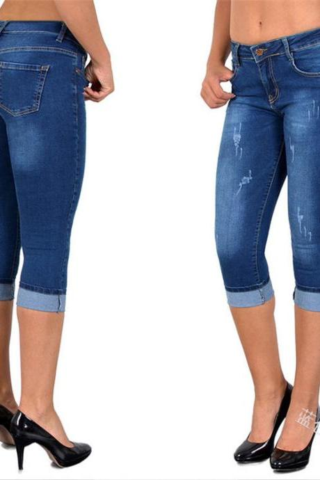 Women Jeans Summer High Waist Plus Size Slim Cropped 3/4 Trousers Stretch Skinny Denim Pencil Pants blue