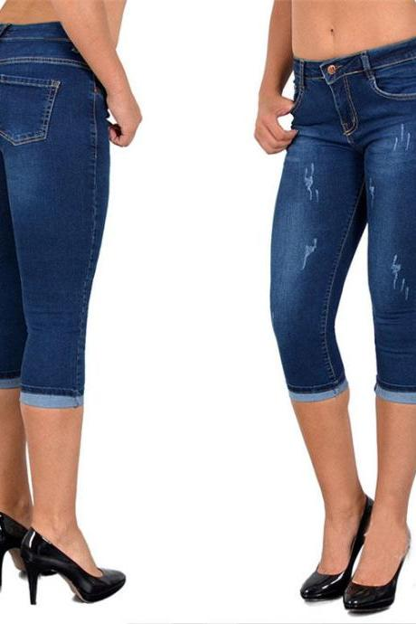 Women Jeans Summer High Waist Plus Size Slim Cropped 3/4 Trousers Stretch Skinny Denim Pencil Pants dark blue