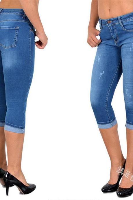 Women Jeans Summer High Waist Plus Size Slim Cropped 3/4 Trousers Stretch Skinny Denim Pencil Pants light blue