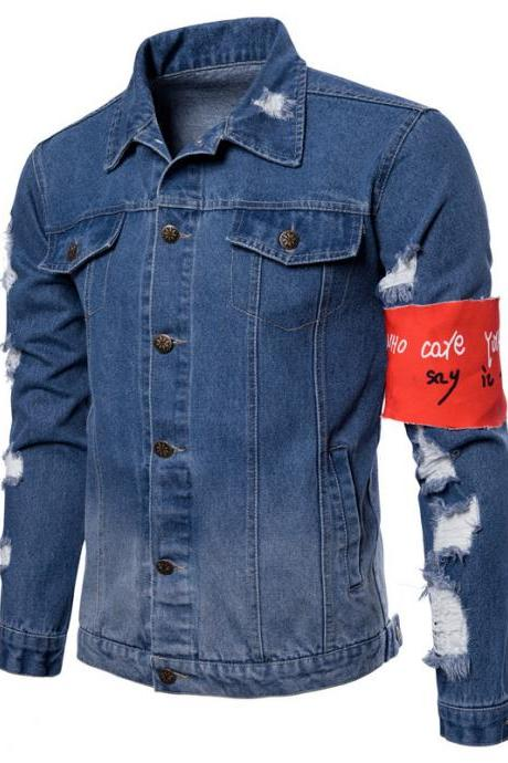 Men Cowboy Coat Autumn Long Sleeve Ripped Holes Casual Male Slim Fit Denim Jacket light blue